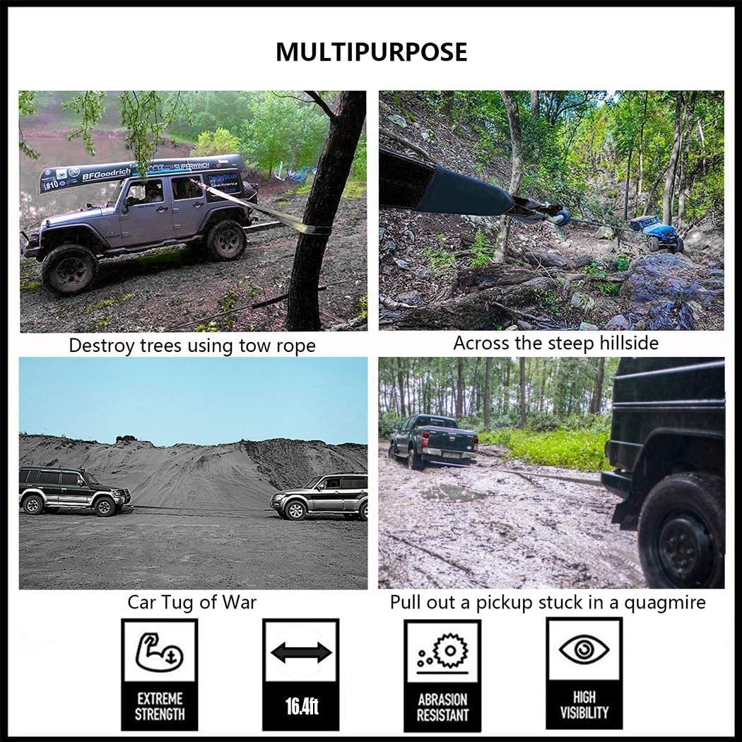 Dirgee 5 Meters Tow Belt Tow Rope Heavy Duty 4x4 Car Tow Strap Size : 5m//10t for Car//SUV//Agricultural Vehicle//Ship Maximum Pulling Force 5 Tons // 10 Tons Size : 5m//5t
