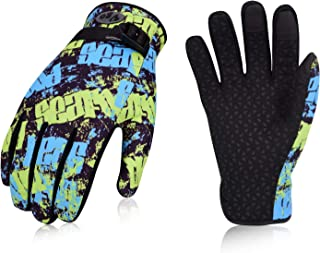 Vgo... Age 12-13 Juniors 32℉ or Above 3M Thinsulate C40 Lined Winter Outdoor Gloves Designed for Running, Cycling, Driving&Texting(1Pair,Size M,Yellow&Blue,SL221FW)