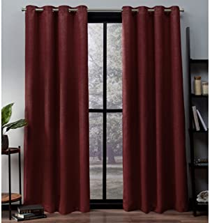Exclusive Home Curtains Oxford Textured Sateen Thermal Window Curtain Panel Pair with Grommet Top, 52x63, Chili, 2 Count