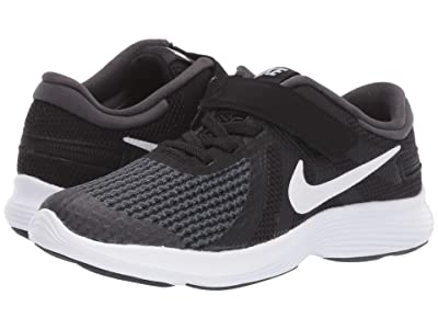 Nike Kids FlyEase Revolution 4 (Little Kid) (Black/White/Anthracite/Total Crimson) Kids Shoes
