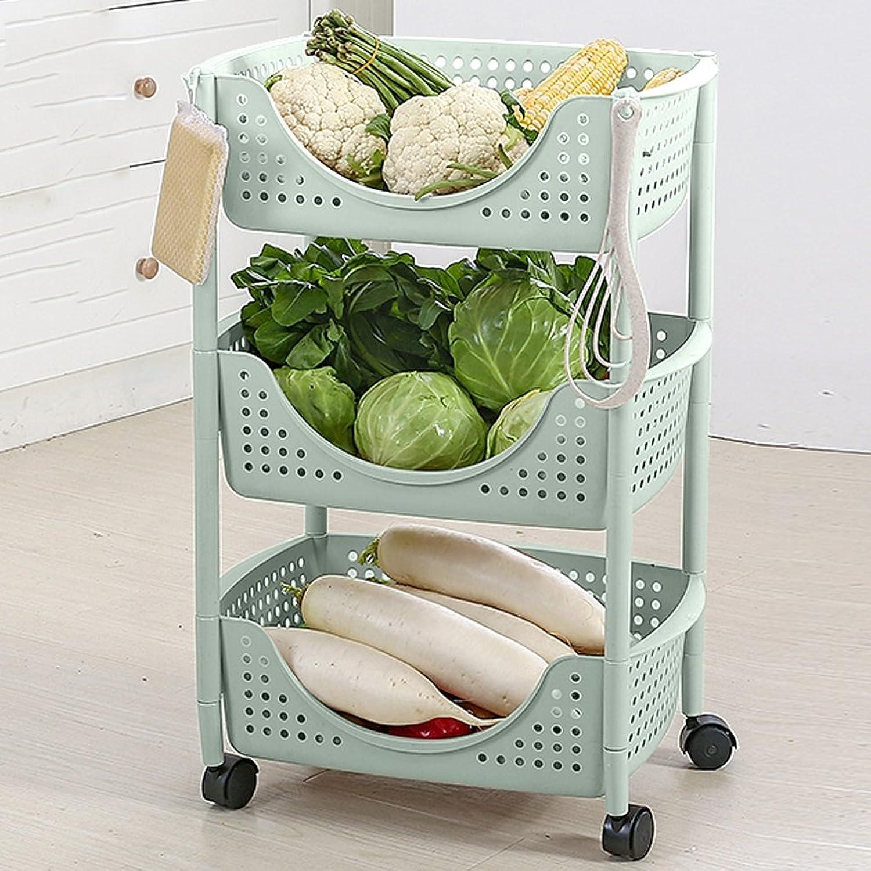 Shelves Kitchen Fruit and Vegetable Racks Floor Multi-Layer Storage Racks Bathroom Storage Baskets Kitchen Rack Mobile Vehicles (color   Green, Size   Three Layers)