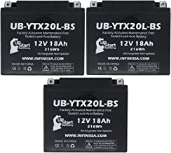 3-Pack UB-YTX20L-BS Battery Replacement for 2017 Triumph Rocket III 2300 CC Motorcycle - Factory Activated, Maintenance Free, Motorcycle Battery - 12V, 18AH, UpStart Battery Brand
