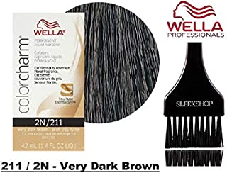 Wella COLOR CHARM PERMANENT Liquid Haircolor (w/Sleek Tint Brush) Excellent Gray Coverage, Floral Fragrance, 1:2 Mix Ratio Hair Color DYE (211 / 2N - Very Dark Brown.)