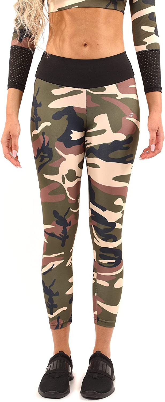 Athletic Leggings Set for Women - Brown/Green Legging & Sports Bra Set - Virginia Camouflage