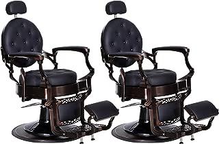BarberPub Vintage Barber Chairs Heavy Duty Metal All Purpose Hydraulic Reclining Barber Chair Salon Beauty Spa Equipment 3849, (2 sets)