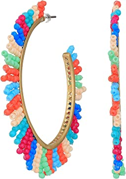 Beaded Spikey Fringe Hoops Earrings