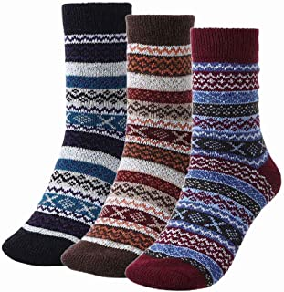IYOU, Calcetines de lana de invierno vintage con rayas rojas cálidas y gruesas, cómodos, calcetines de lana atlética, para mujeres y hombres (3 pares)