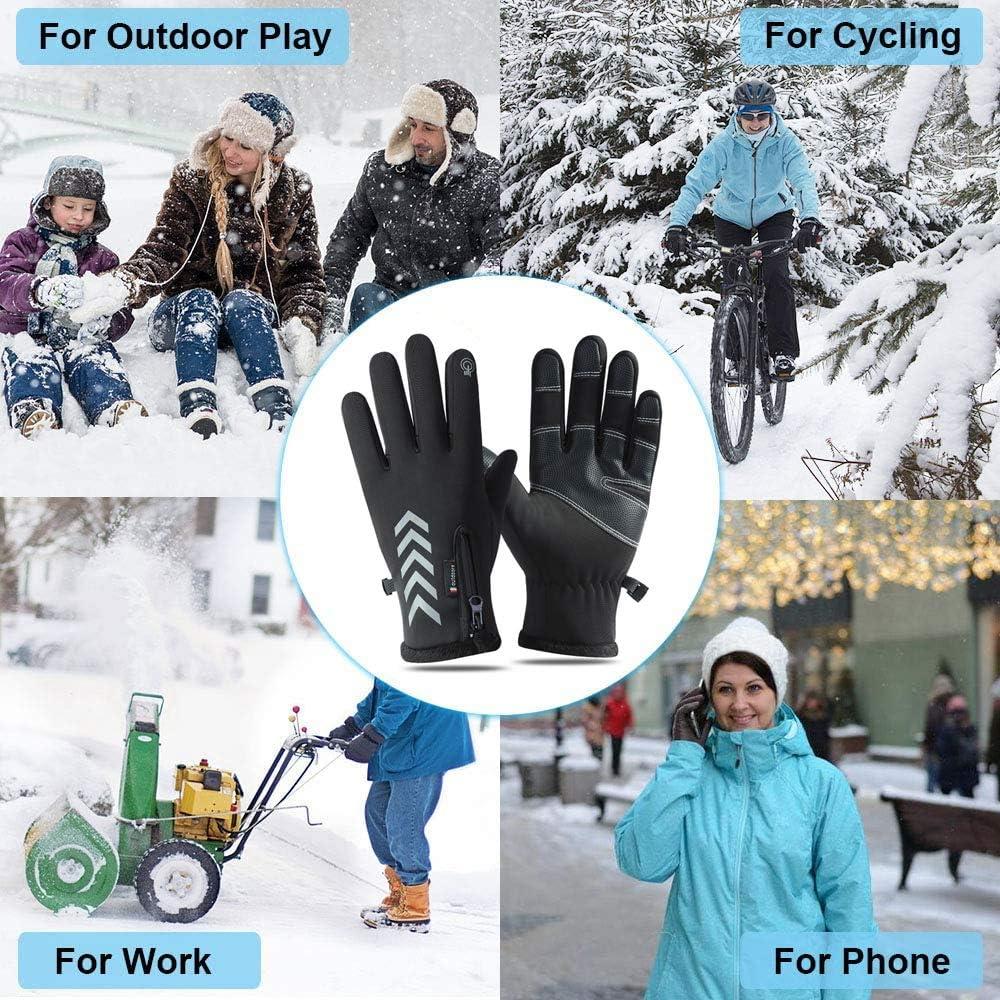 LeerKing Gants Tactile Hiver Gants Femme avec Bande R/éfl/échissante pour Cyclisme Course /à Pied V/élo Moto Conduite Ski Sports de Plein air
