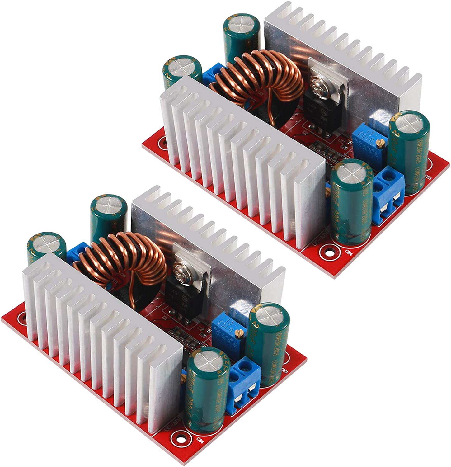 AITRIP 2PCS DC 400W 15A Step-up Boost Converter Constant Current Power Supply LED Driver 8.5-50V to 10-60V Voltage Charger Step Up Module for Electric Equipment and Digital Products