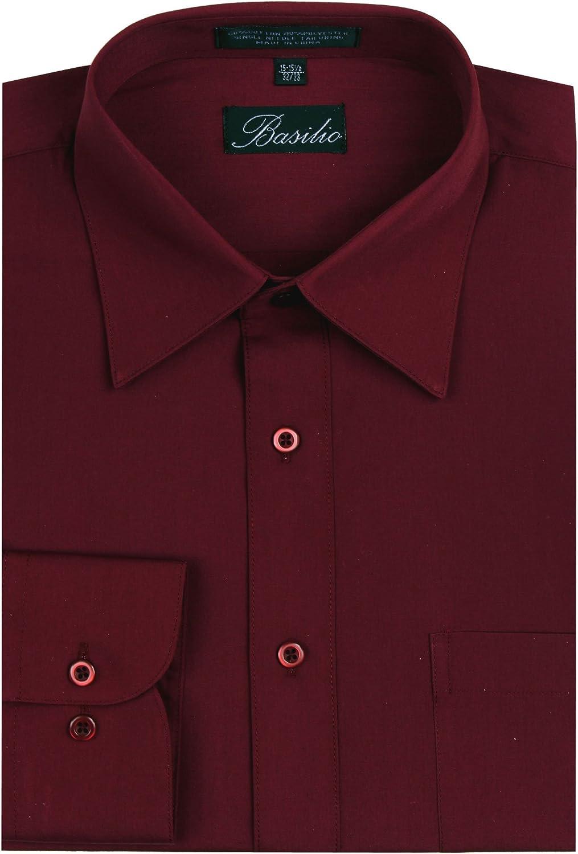 Basilio Men's Convertible Cuff Solid Dress Shirt