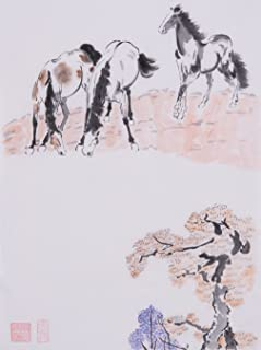 Oridental Artwork Unframed Hand Painted Art Chinese Brush Ink and Wash Watercolor Painting Drawing Picture on Rice Paper Horse Decorations Decor for Office Living Room Bedroom