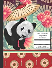 Story Journal Composition Notebook Draw & Write Half College Ruled Lines Half Blank Space: Combined Note and Sketch Workbook Top & Bottom (Black and ... Bear with Red Asian Umbrella Theme Cover)