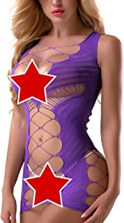 FasiCat Sexy Lingerie for Women Fishnet Halter Chemise Deep V Hot Mesh Mini Dress Bodysuit