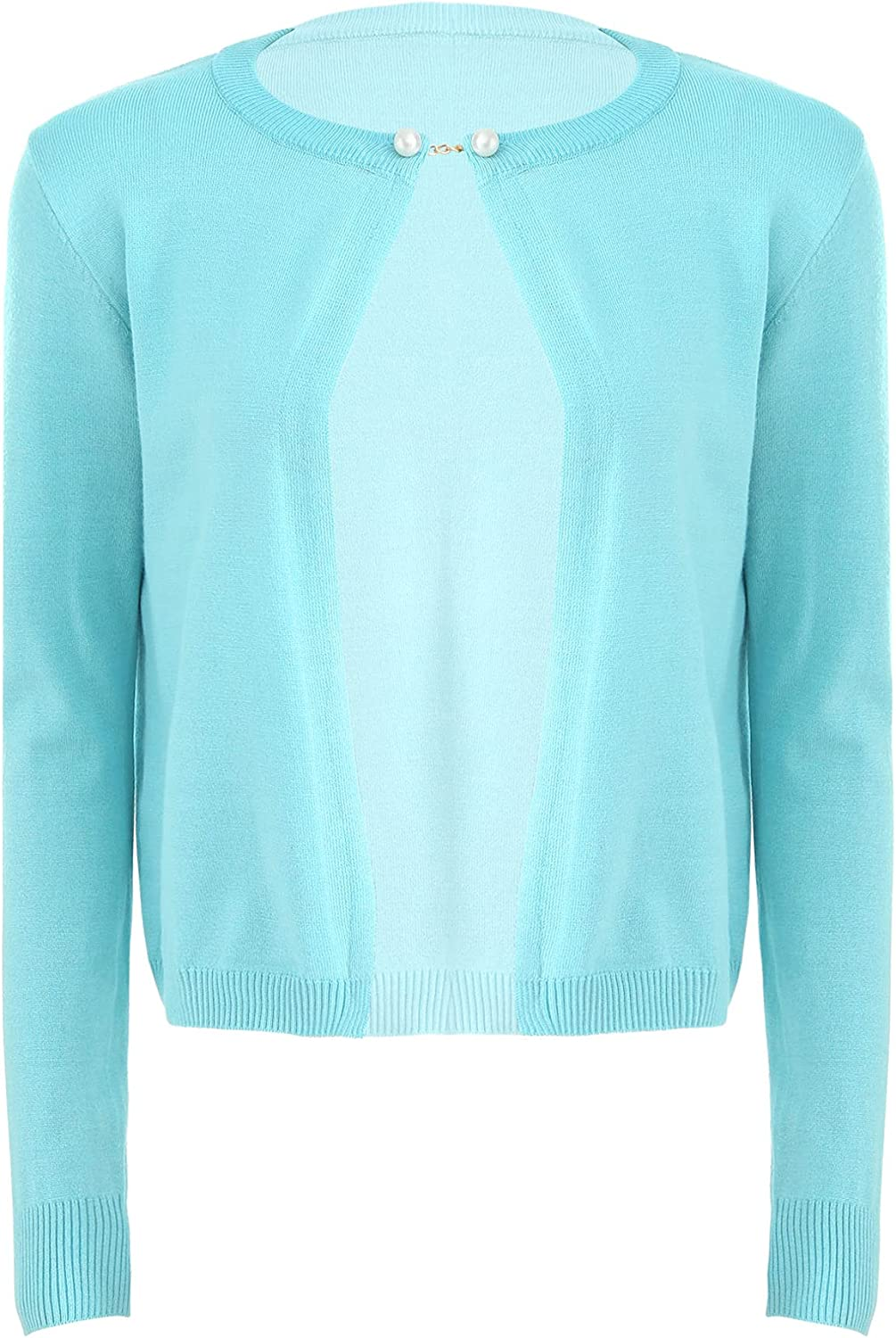 renvena Womens Round Neck Long Sleeve Basic Knit Cardigan Ribbed Outerwear Sweater Coats
