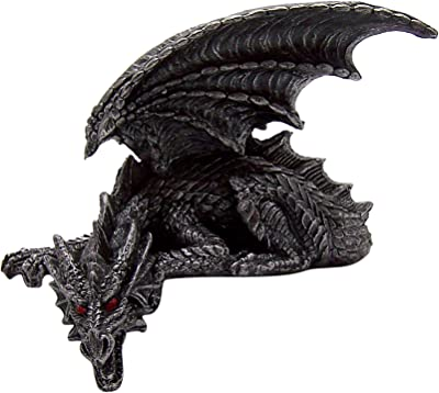 Detailed Dragon Figurine with Wings and Red Eyes, Haunted Halloween Shelf Decoration Miniature Statue, 6 Inches