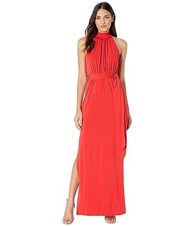 Halston Mock Neck Jersey Gown (Lipstick) Women