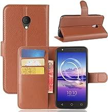 Ziaon(TM) Len Series 100% Faux Leather Flip Stand Wallet Case for Alcatel U5 HD - Mangnetic Lock- Brown