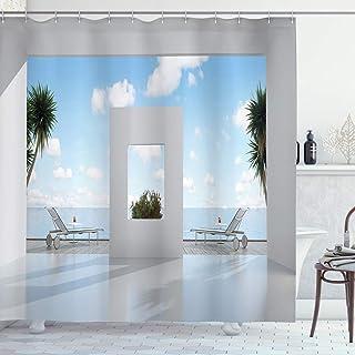Coastal Decor Shower Curtain by, Holiday Villa with Terrace Balcony in Clear Sunny Sky Sea Ocean, Fabric Bathroom Decor Se...