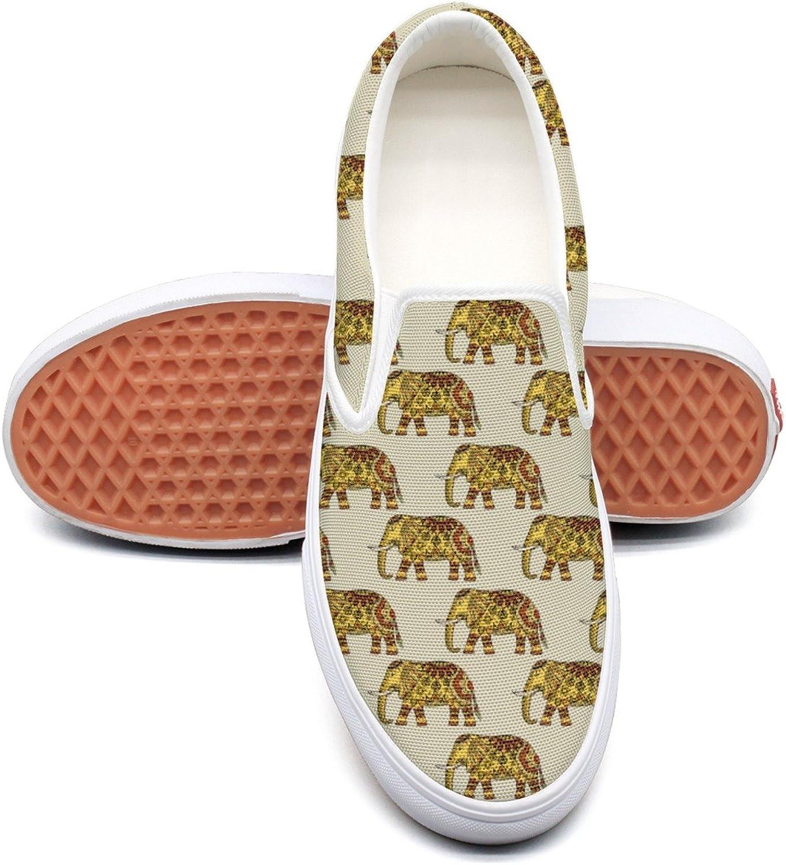Dutte Lisa Women's Tribal golden Cute Elephant Art Casual shoes Laces Low Slip On Canvas Sneakers
