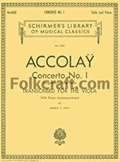 G. Schirmer Concerto No 1 Viola / Piano By Accolay