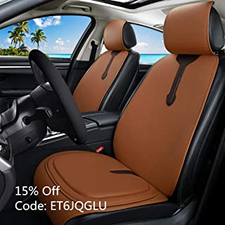 Universal Front Car Seat Covers Leather Car Seat Cushion + Premium All Gel Seat Cushion Relief The Pain for Car/Trucks/Office Chair 7PCS Orange Car Seat Cover Set (C-Orange)