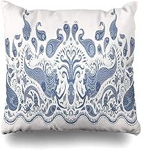 ArTmall Throw Pillow Case Exotic Fantasy Mermaid Octopus Fish Sea Dark Indigo Blue On Beige Batik Border Design Tattoo Zippered Pillowcase Square Size 18 x 18 Inches Home Decor Cushion Covers