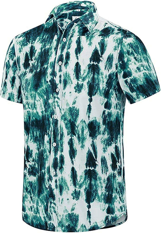 Men's Tie Dye Button Down Short Sleeve Shirt Summer Funny Printed Shirts