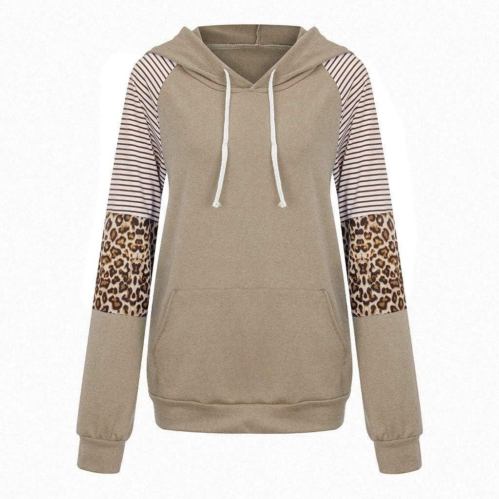 GreatestPAK Leopardenmuster Langarm Kapuzenpullover Damen Hoodie Streifen Rundhals Nähte Taschen Komfort Sweatshirts Mäntel Tops Khaki