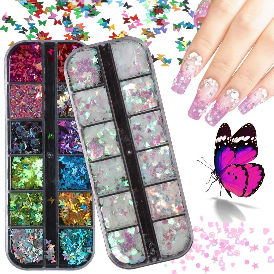 Butterfly Nail Glitter 24 Color Opening large trust release sale Set Holograph Art Decals 3D