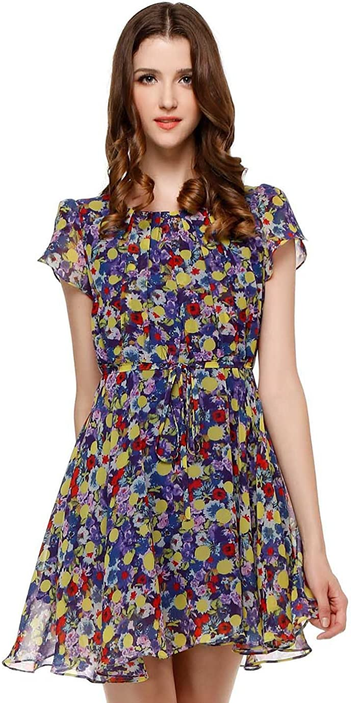 Women's Floral Slim Dress XXX-Small Blue