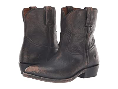 Frye Billy Short (Black Full Grain Brush-Off) Cowboy Boots