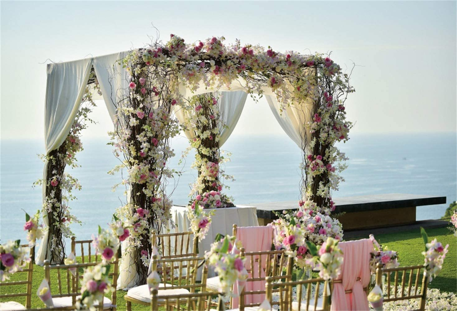 Leowefowa Seaside Wedding Ceremony Scene Vinyl 12x8ft Photography Background Bridal Party Backdrops Bride Groom Portrait Shoot Bridal Shower Wedding Photo Booth Props