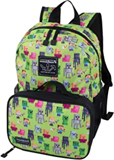 Minecraft Overworld Sprite Kids Backpack and Lunch Kit Combo (Green, 16