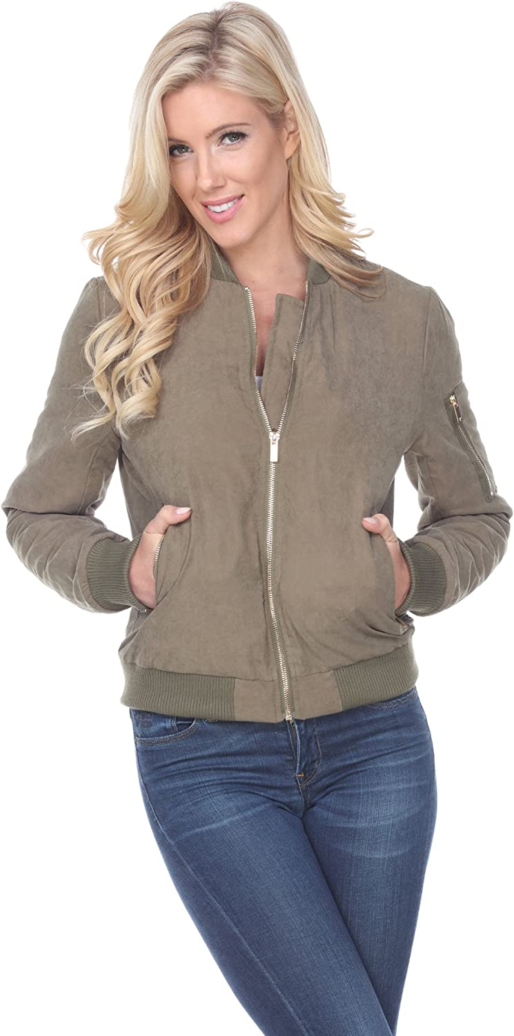 Women's Plus Size Classic Bomber Jacket Short Quilted Zipper Coat in Olive - X-Large
