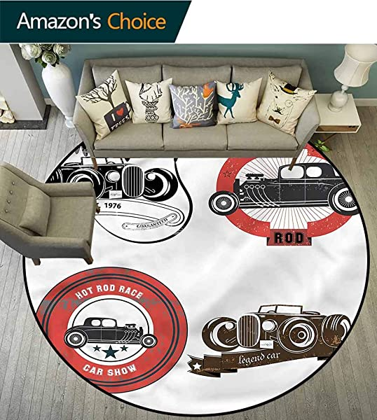 RUGSMAT Cars Non Slip Round Rugs Retro Cars Pop Art Area Rug Perfect For Any Place Diameter 59
