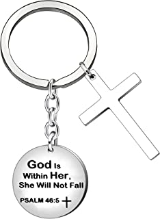 CAROMAY Women Christian Keychain Rings Cross Key Chain Bible Verse Inspirational Baptism Keyring Prayer God is within Her She Will Not Fall