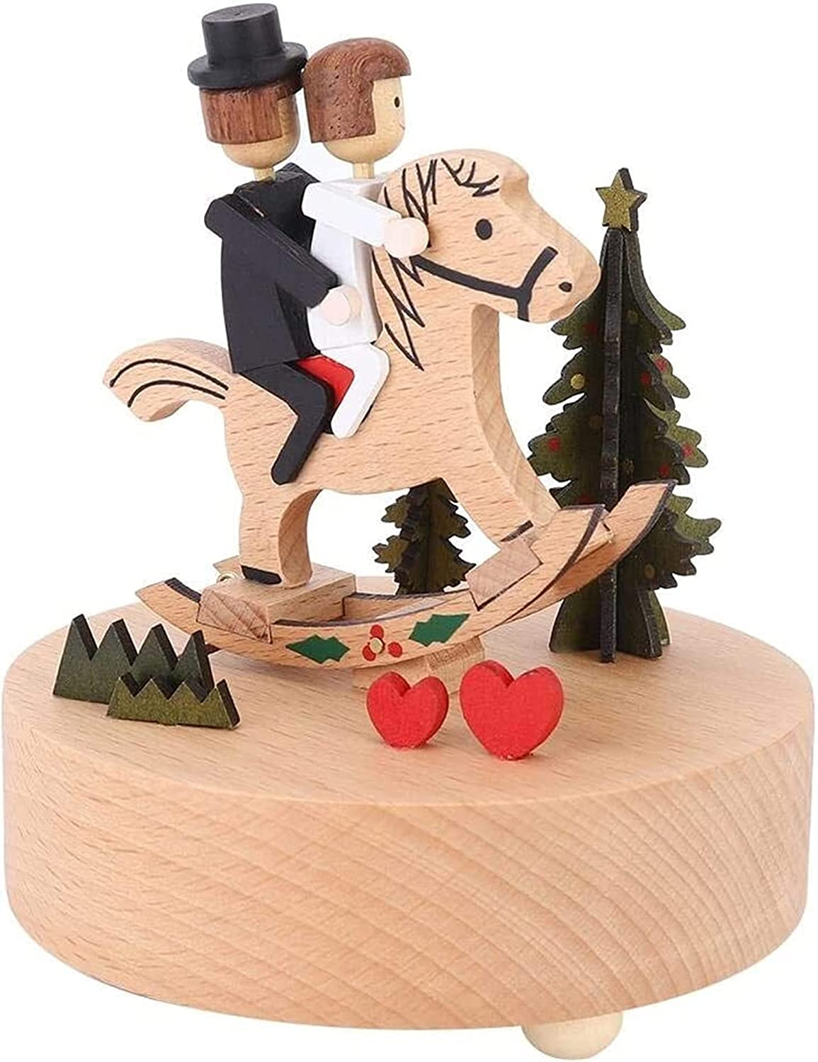 Bombing new work Home Decor Fashionable Carousel Music Box Turn Wooden Horse Hors Musical