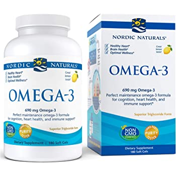 Nordic Naturals Omega-3, Lemon Flavor - 690 mg Omega-3-180 Soft Gels - Fish Oil - EPA & DHA - Immune Support, Brain & Heart Health, Optimal Wellness - Non-GMO - 90 Servings
