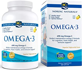 Nordic Naturals Omega-3, Lemon Flavor - 690 mg Omega-3-180 Soft Gels - Fish Oil - EPA & DHA - Immune Support, Brain & Hear...