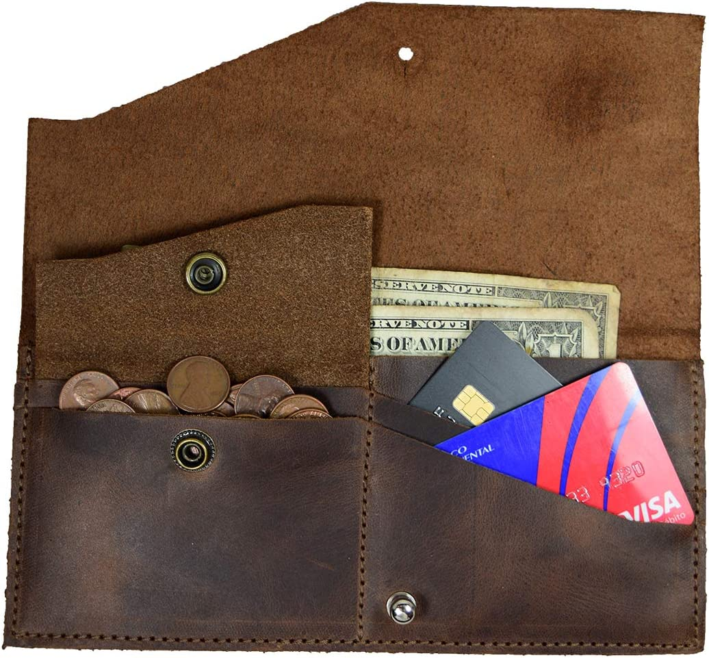Hide & Drink, Folio Wallet, Holds Up to 10 Cards / Internal Pouch for Coins or SD Cards / Flat Bills / Travel / Case / Stylish / Vintage, Handmade : Bourbon Brown : Clothing, Shoes & Jewelry