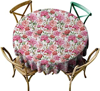 Party Table Cloth Shabby Chic,Summer Spring Garden Flowers with Leaves and Buds Artwork,Orange Hot Pink and Light Pink,for Umbrella Table