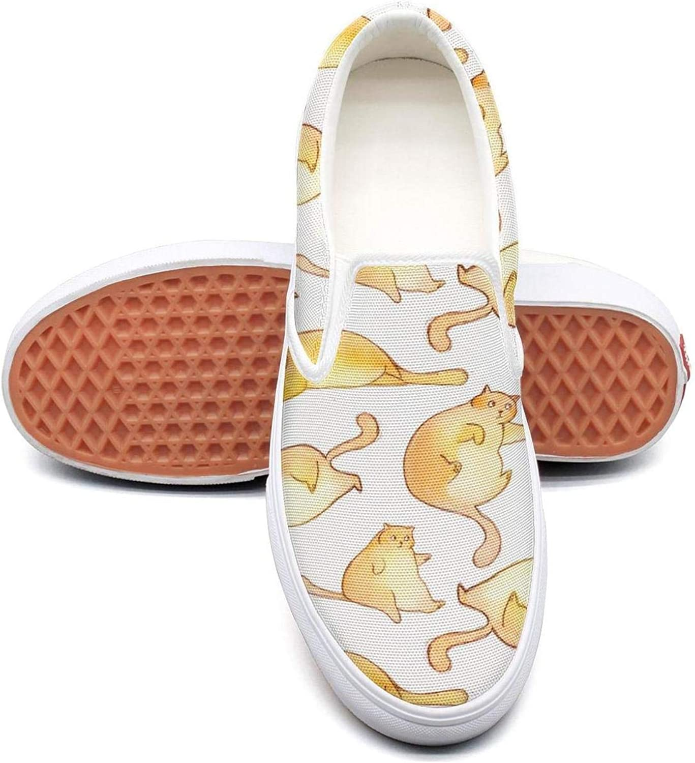 Sernfinjdr Women's Fat cat Pattern Fashion Casual Canvas Slip on shoes Lightweight Running Sneakers shoes