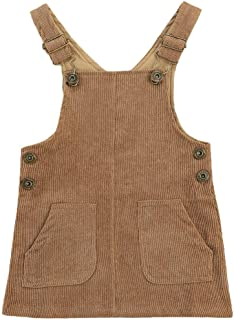 Baby Girl Suspender Overall Dress Corduroy Solid A-line Pinafore Bib Pocket Adjustable Strap Skirt Fall Outfit Clothes