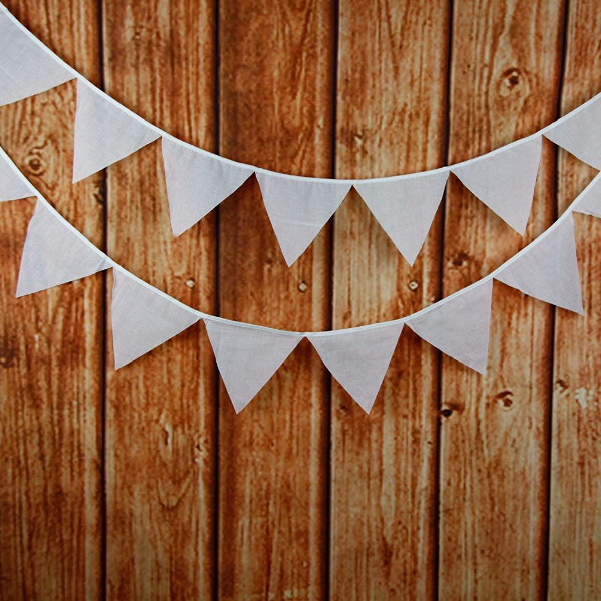 Yalulu Retro White Cotton Bunting Flag Banner Pennant Garland Fabric Triangle Flags Lovely Cloth Shabby Chic Decoration for Birthday Wedding Parties