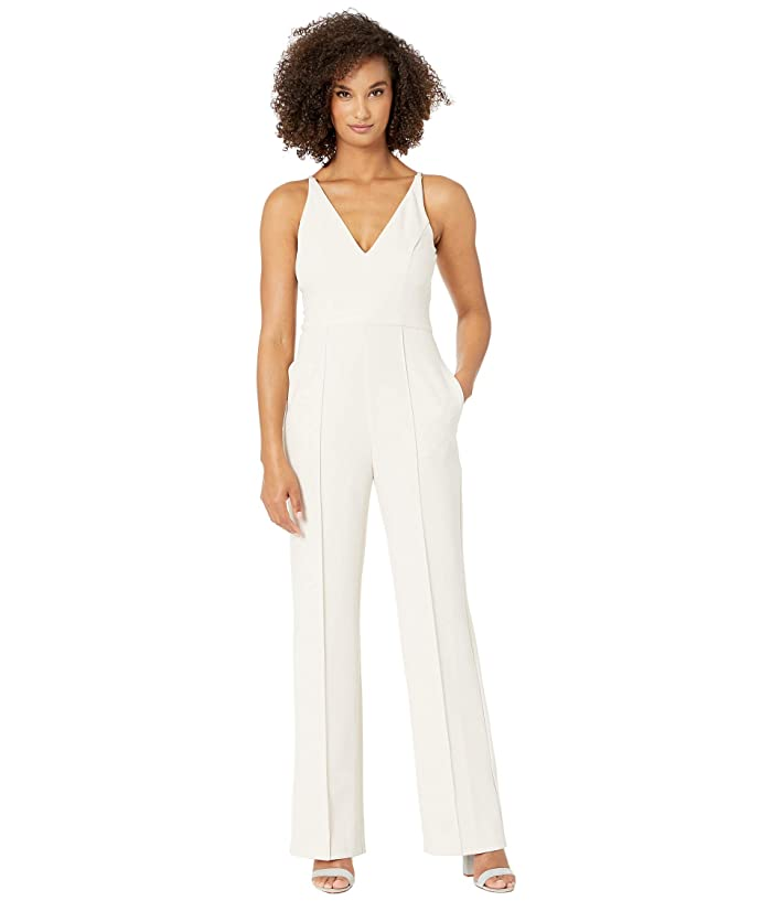 Donna Morgan  Sleeveless V-Neck Crepe Jumpsuit (Horn) Womens Jumpsuit and Rompers One Piece