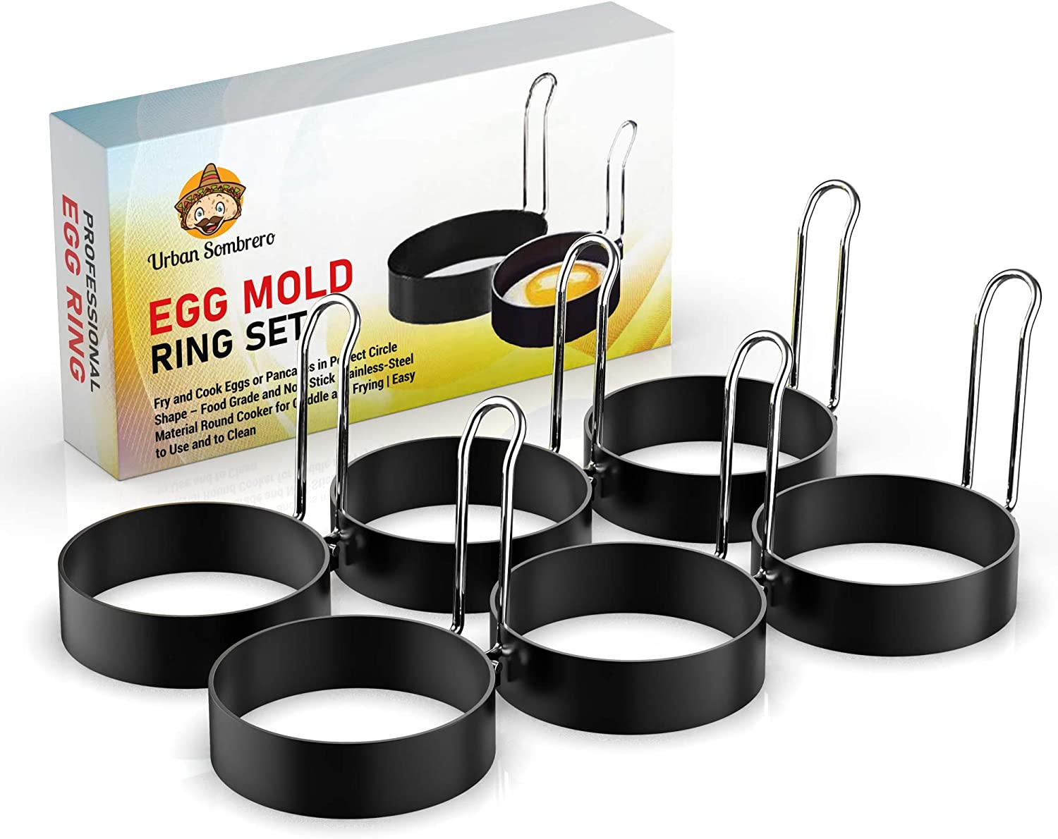 Direct sale of Limited price manufacturer Egg Mold Ring Set 6 Pack – Fry or Pancakes in and Pe Eggs Cook