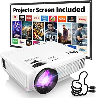 DR. J Professional HI-04 1080P Supported Portable Movie Projector, 3600L Mini Projector..