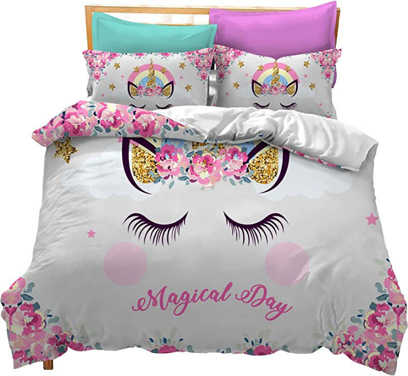 Prula Cooper Girl Unicorn Bedding Set White Pink Golden Ears Unicorn Bedding Duvet Cover Set Full Girls Printed Modern Lightweight Kids Bedding Set For Teens U08 Full
