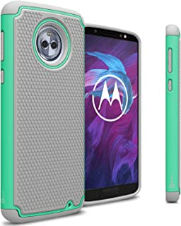 Motorola Moto G6 Plus Case, CoverON [HexaGuard Series] Protective Dual Layer Hybrid Phone Cover Case for Motorola Moto G6 Plus - Teal on Gray