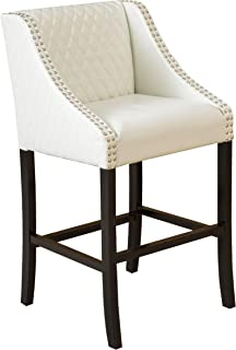 Christopher Knight Home Filton Ivory White Quilted Faux Leather Stool